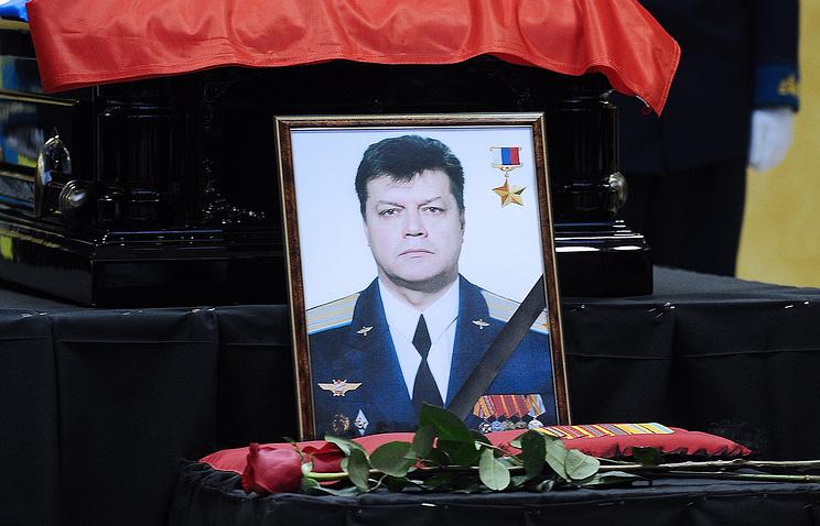 Portrait of Russian pilot Oleg Peshkov