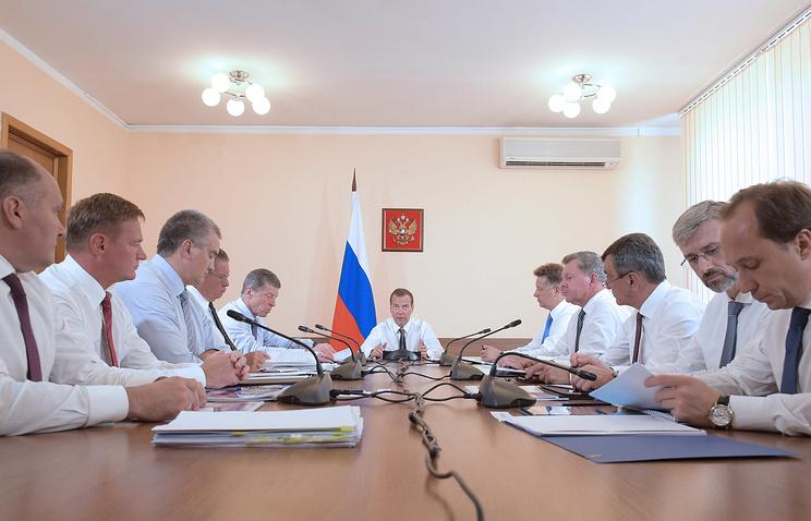 Russia's Prime Minister Dmitry Medvedev holding a meeting in Sevastopol