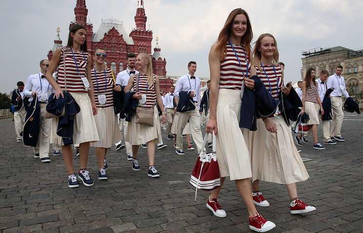 Athletes of the Russian Olympic team in Moscow's Red Square