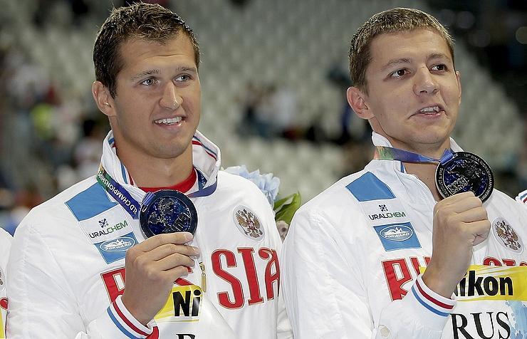 Russian swimmers Nikita Lobintsev and Vladimir Morozov