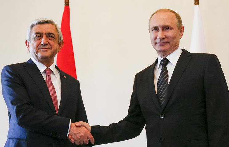 Russian President Vladimir Putin and his Armenian counterpart Serzh Sargsyan