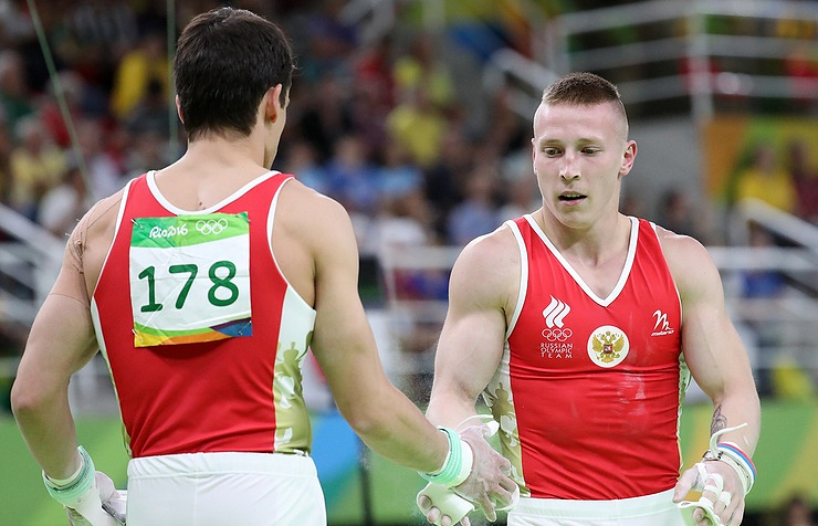 Russian gymnasts Nikolai Kuksenkov and Denis Ablyazin