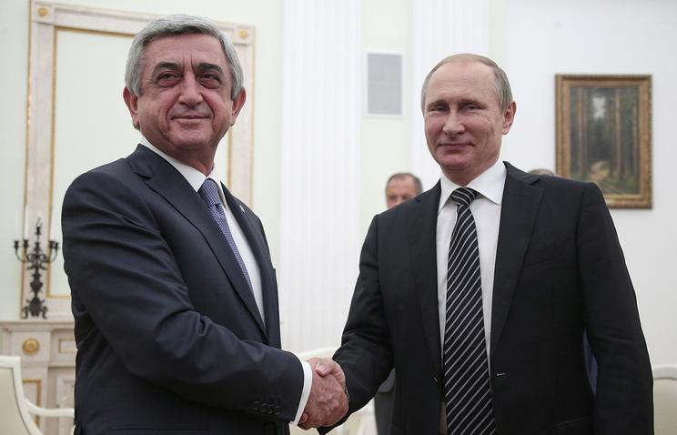 Armenian and Russian presidents, Serzh Sargsyan and Vladimir Putin