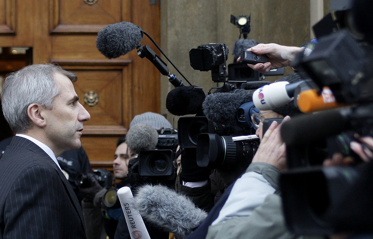 Vygaudas Usackas talking to the press (archive)