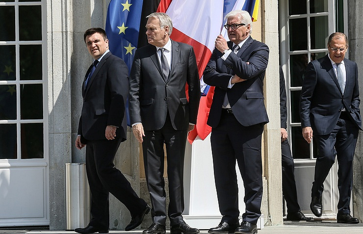 Foreign ministers of Ukraine, France, Germany and Russia, Pavel Klimkin, Jean-Marc Ayrault, Frank Walter Steinmeier and Sergei Lavrov