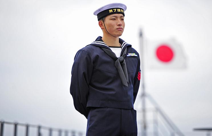 A crewman aboard a Japanese ship in Russia's Vladivostok