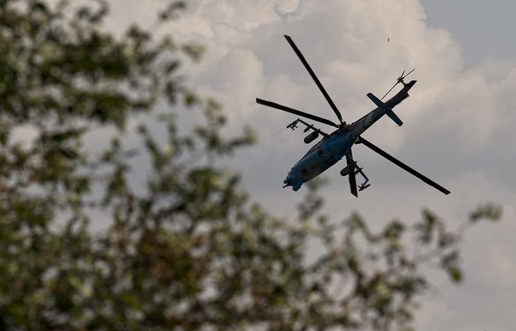 A Ukrainian helicopter gunship outside Donetsk, Ukraine, May 26, 2014