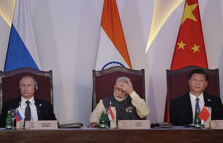 The leaders of Russia, India and China at the Brics summit in Goa
