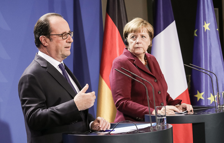 French President Francois Hollande and German Chancellor Angela Merkel