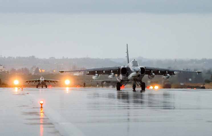Russian Aerospace Force Su 25 attack aircraft at Hmeimim airbase