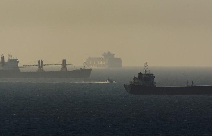 Cargo ships in the Mediterranean Sea, near the port of Ashdod, Israel