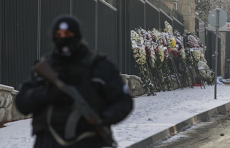 Wreaths near the Russian embassy in Ankara, Turkey