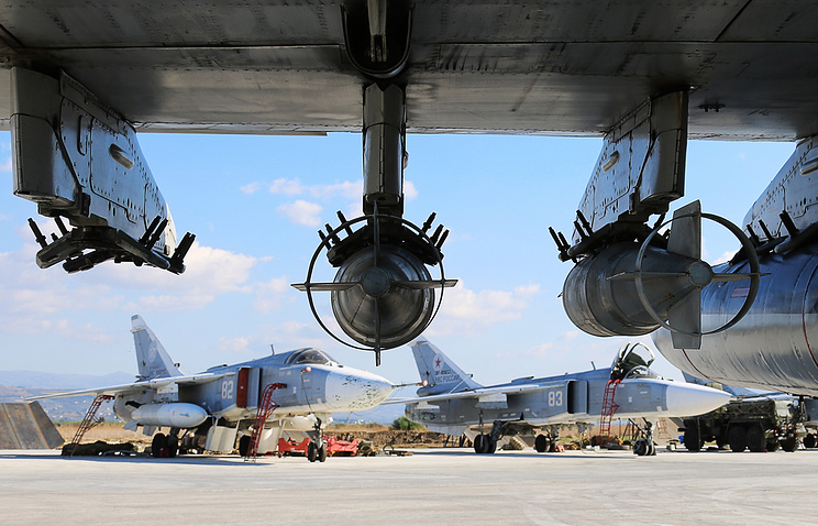 Russian Su-24M bombers at the Hmeymim airbase