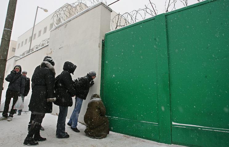 People outside the prison walls in Minsk, Belarus