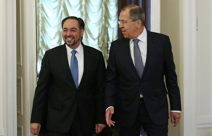 Afghan and Russian foreign ministers, Salahuddin Rabbani and Sergey Lavrov