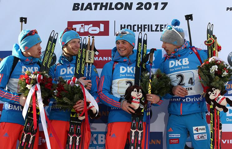Alexei Volkov, Maxim Tsvetkov, Anton Babikov, and Anton Shipulin