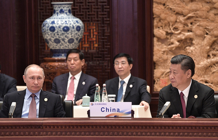 Russia's President Vladimir Putin and China's President Xi Jinping at the One Belt, One Road forum in Beijing