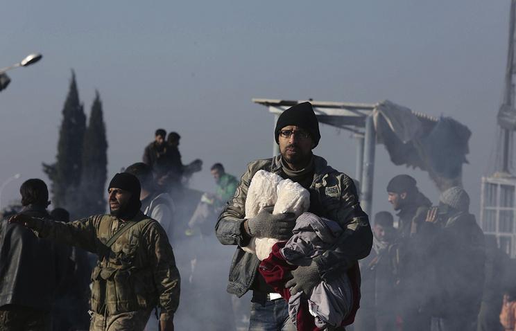 Syrians at a refugee camp near Idlib, Syria