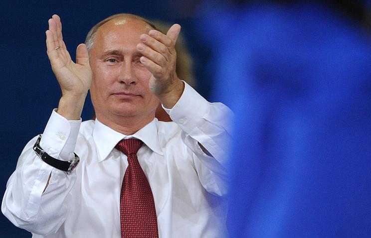 Russian President Vladimir Putin at the men's judo battle