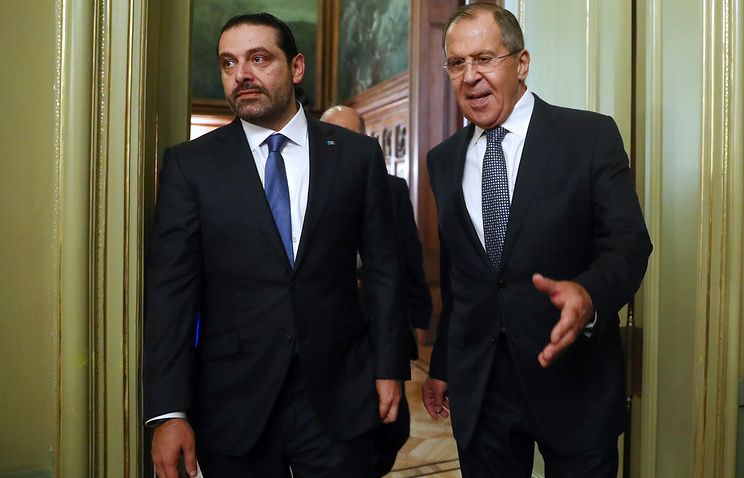Lebanon's Prime Minister Saad Hariri and Russia's Foreign Minister Sergei Lavrov