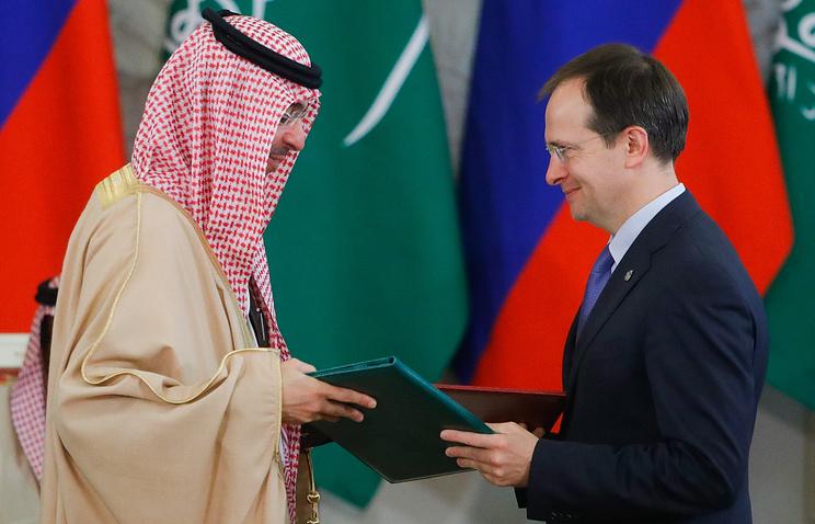 Saudi Arabia's Minister of Culture and Information Awwad al-Awwad and Russia's Culture Minister Vladimir Medinsky