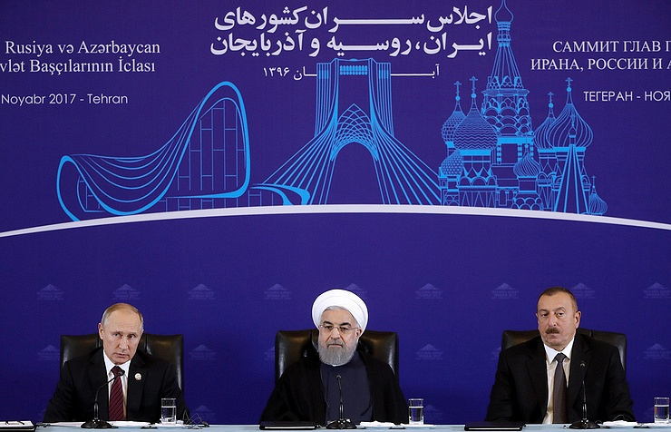 Russian President Vladimir Putin, President of Iran Hassan Rouhani and Azerbaijan's President Ilham Aliyev