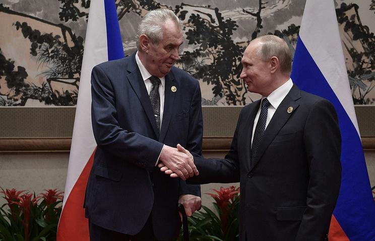 Czech Republic's President Milos Zeman and Russian President Vladimir Putin, 2017