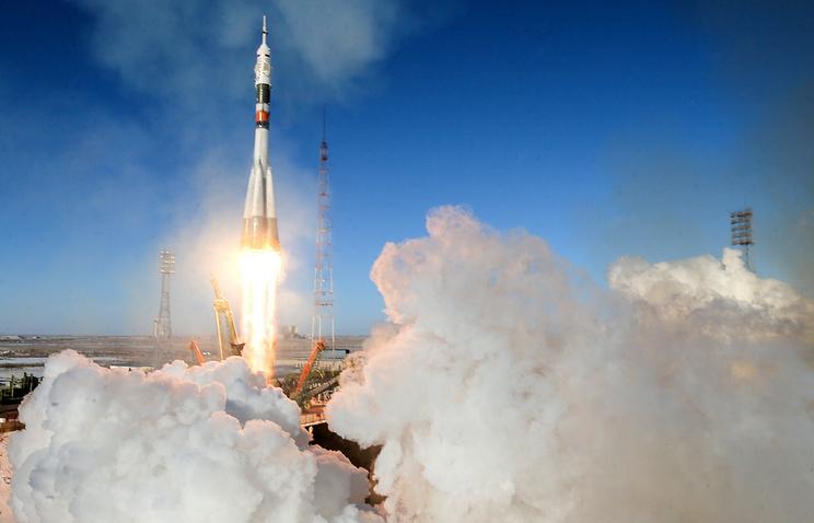 Soyuz-FG booster rocket carrying the Soyuz MS-07 spacecraft
