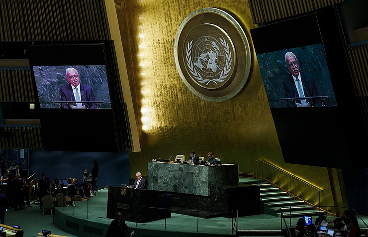 Palestinian Foreign Minister Riyad Al-Maliki addressing the Special Session of the UN General Assembly in New York on December 21