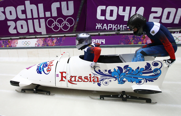 Russian bobsledders at the 22nd Winter Olympic Games in Sochi, 2014