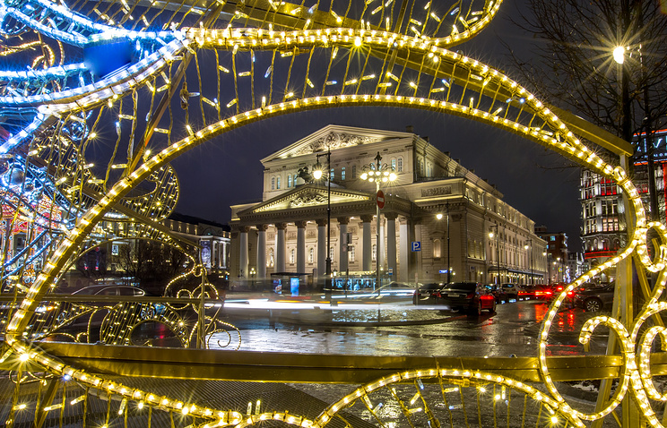 The Bolshoi Theatre decorated for the upcoming New Year and Christmas season