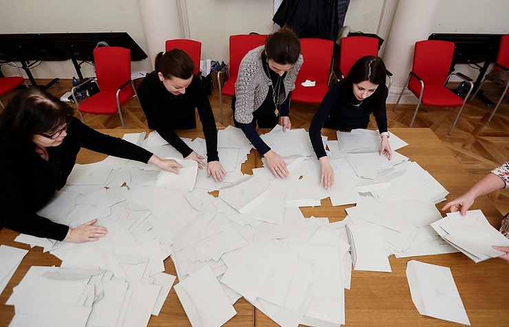 Vote count at a polling station in Prague