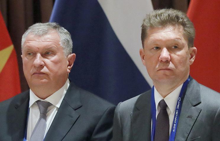 Rosneft CEO Igor Sechin and Gazprom CEO Alexei Miller