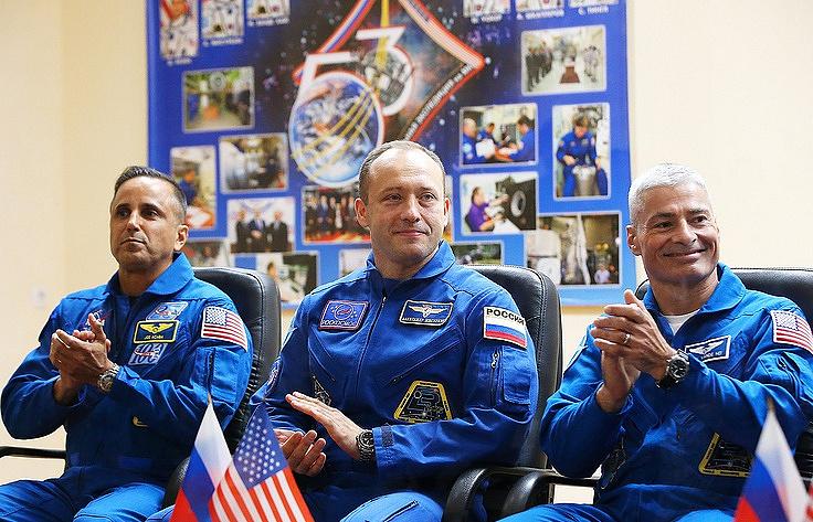 NASA astronaut Joseph Acaba, Russian cosmonaut Alexander Misurkin and NASA astronaut Mark Vande Hei