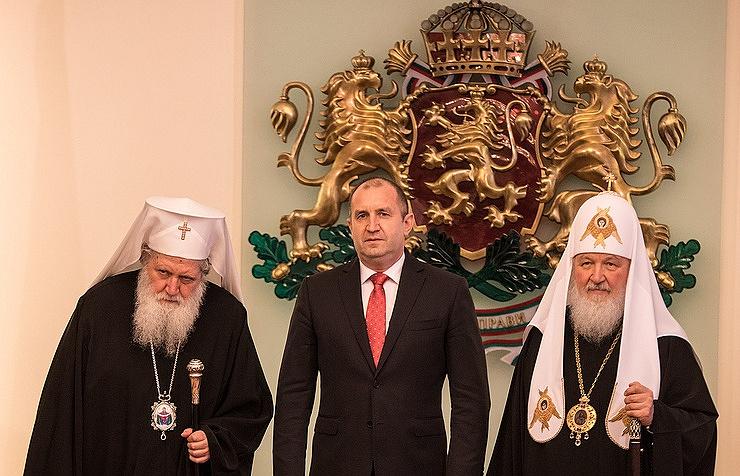 Patriarch Neophyte of Bulgaria, President of Bulgaria Rumen Radev and Patriarch Kirill of Moscow
