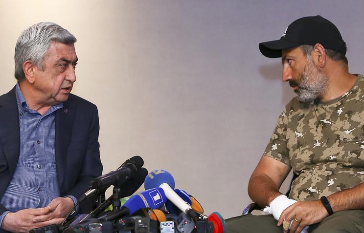 Armenian Prime Minister Serzh Sargsyan and opposition leader Nikol Pashinyan