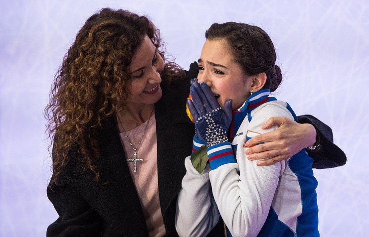 Coach Eteri Tutberidze and Yevgeniya Medvedeva