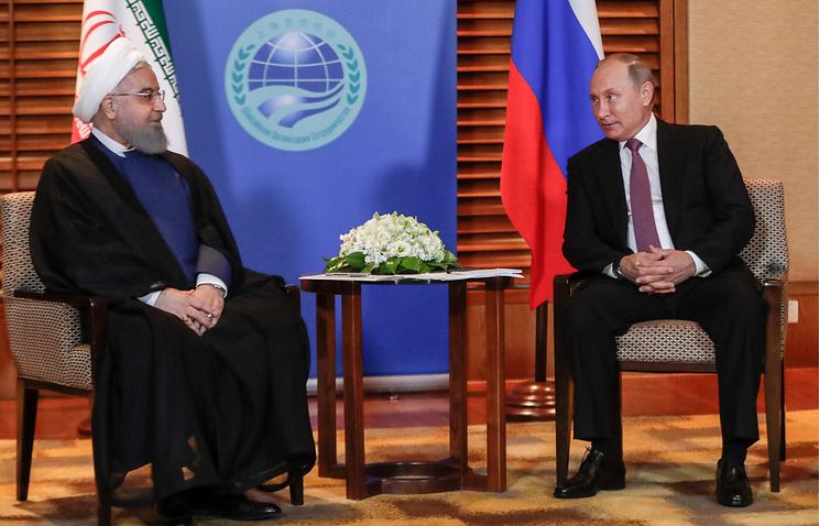 Iranian President Hassan Rouhani and Russian President Vladimir Putin