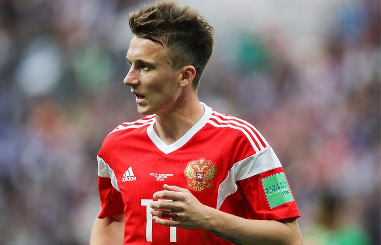 Russia's Alexander Golovin after scoring in the 2018 FIFA World Cup opening match against Saudi Arabia at Luzhniki Stadium