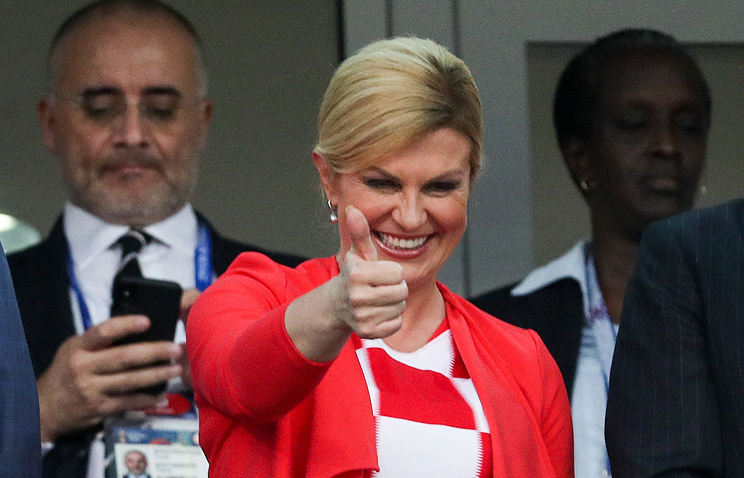 Croatia's President Kolinda Grabar-Kitarovic during the Russia-Croatia game in Sochi