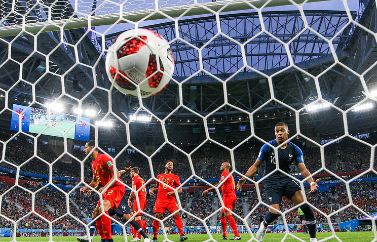 Belgium's players concede a goal in the 2018 FIFA World Cup Semi-final match between France and Belgium at Saint Petersburg Stadium