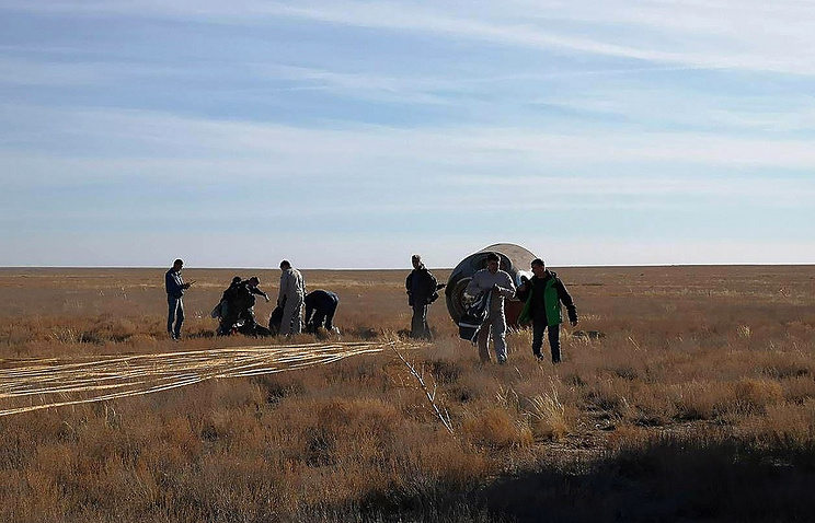 Soyuz capsule after emergency landing