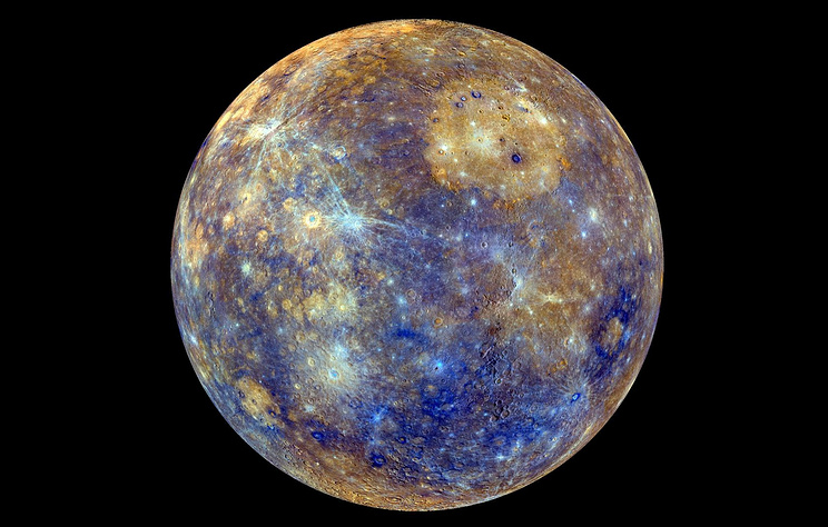 An enhanced-color image of Mercury taken during NASA's MESSENGER's primary mission (2011-2015)