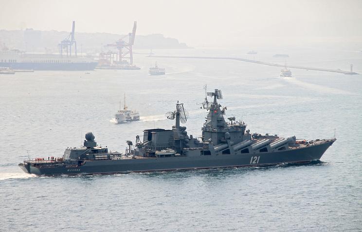 Russia's guided missile cruiser Moskva passing through Bosporus strait
