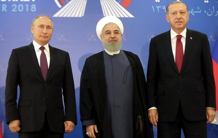 Russian President Vladimir Putin, Iranian President Hassan Rouhani and Turkish President Recep Tayyip Erdogan