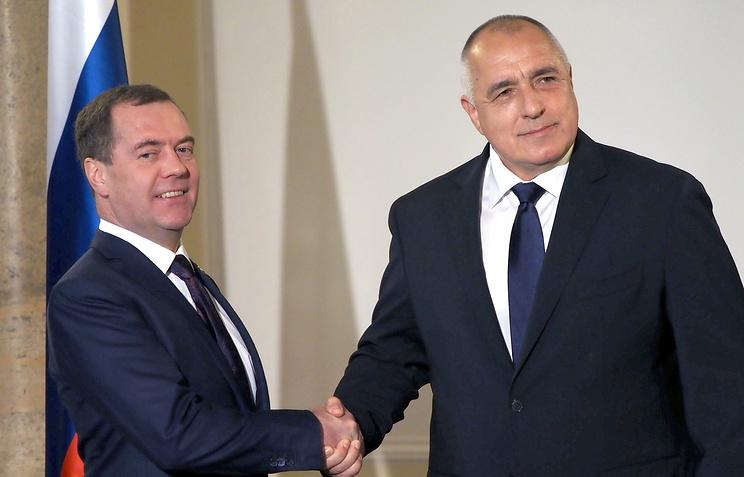 Russian Prime Minister Dmitry Medvedev and Bulgarian Prime Minister Boyko Borisov
