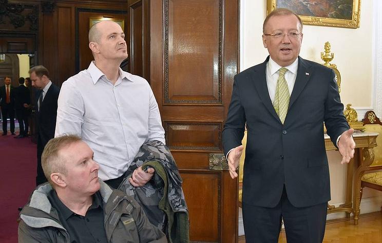 Matthew Rowley, Charles Rowley and Russia's Ambassador Alexander Yakovenko