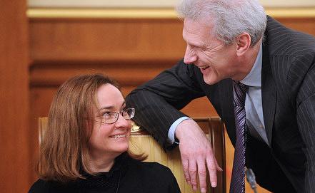 Elvira Nabiullina and Andrei Fursenko. Photo ITAR-TASS