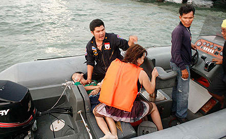 Rescue operations after Thai ferry accident. AP/Daily News