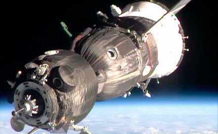 Rassvet module. NASA TV
